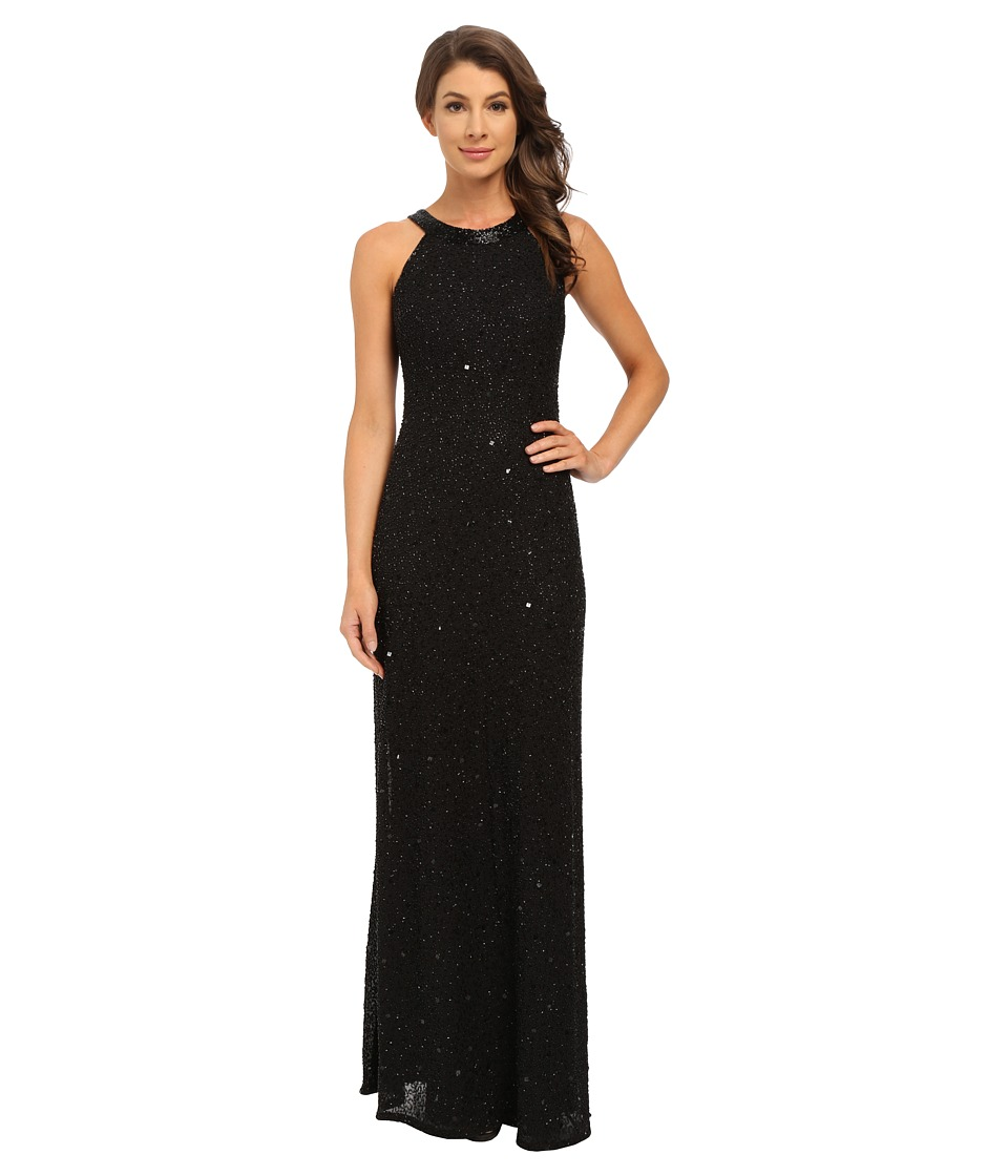 Adrianna Papell Caviar Sheer Back Gown Black Womens Dress