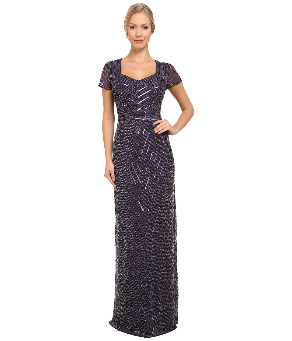 Adrianna Papell - Beaded Mermaid Gown with Cap Sleeve Prune Womens Dress $395.00 AT vintagedancer.com