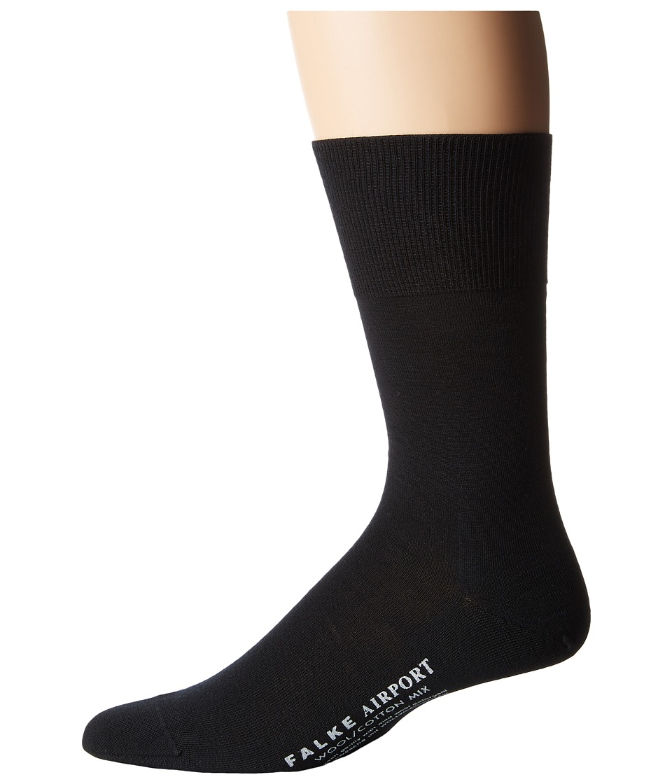 Falke - Airport Crew Socks (Black) Mens Low Cut Socks Shoes