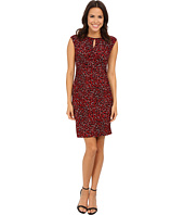 Nine West - Cap Sleeved Mottled Animal Rouched Dress