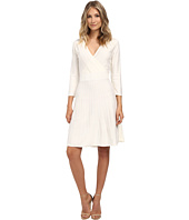 Nine West - 3/4 Sleeve Fit and Flare Textured Dress with Shoulder Embellishments