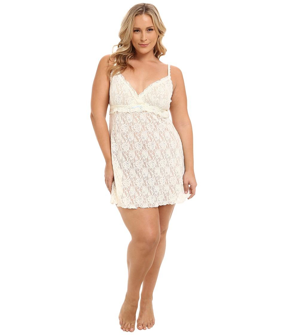 Hanky Panky - Plus Size Rosalyn Ruffle Chemise (Ivory/Baby Blue) Women's Underwear plus size,  plus size fashion plus size appare