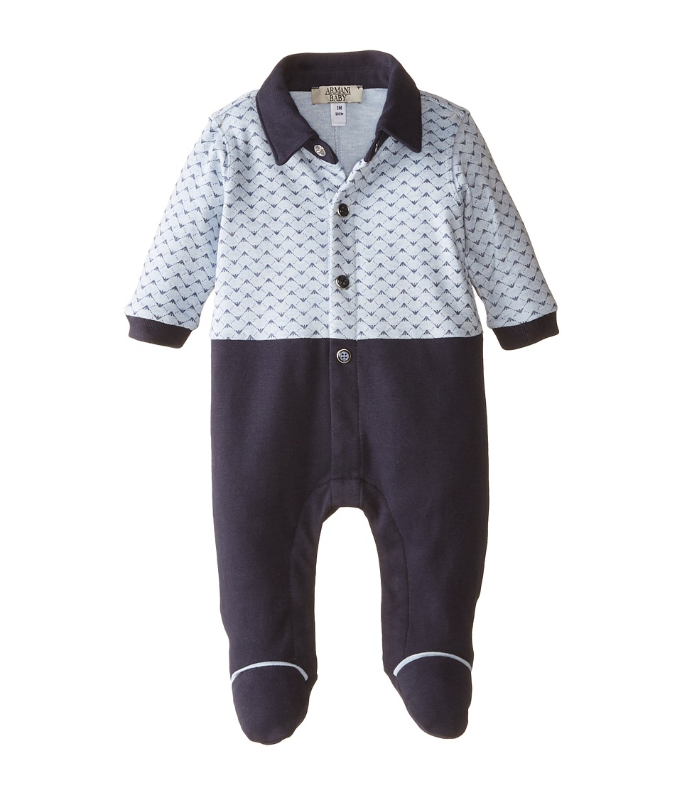 Armani Junior All Over Logo Long Sleeve Footie w/ Pants Infant Open Misc Boys Jumpsuit Rompers One Piece