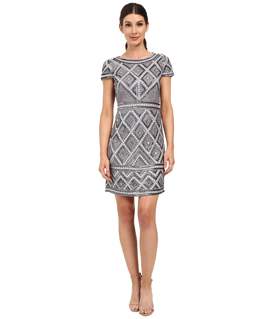 Adrianna Papell Cap Sleeve Geo Bead Sheath Silver Grey Womens Dress
