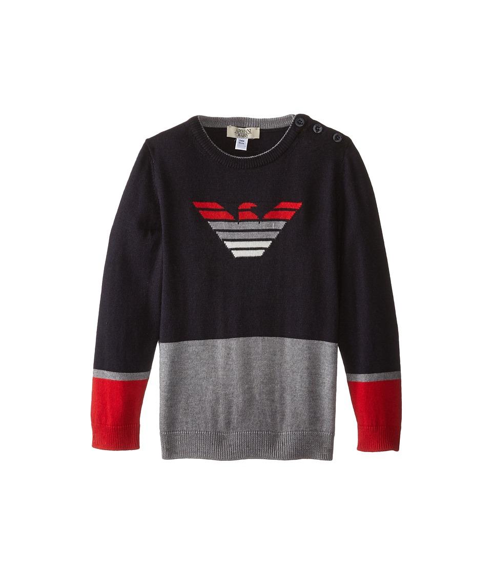 Armani Junior Color Block Sweater w/ Ombre Logo Infant Multi Boys Sweater