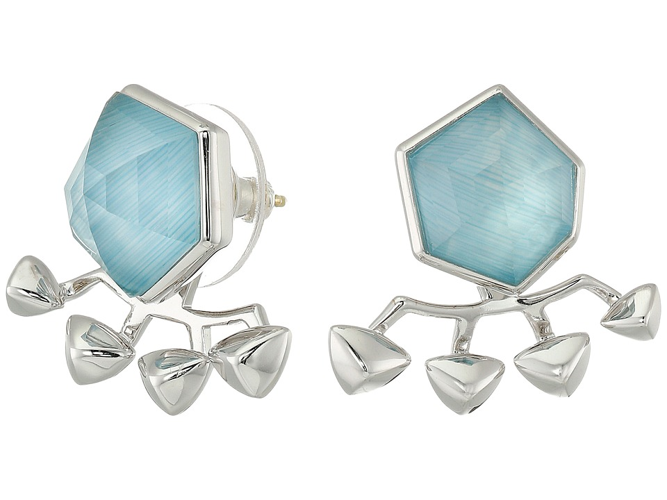 Stephen Webster - Superstud Crystal Haze Earrings (Blue Cats Eye Over White Mother-of-Pearl) Earring