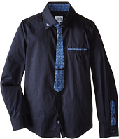 Armani Junior - Solid Button Down w/ Faux Tie Contrast (Toddler/Little Kids/Big Kids)