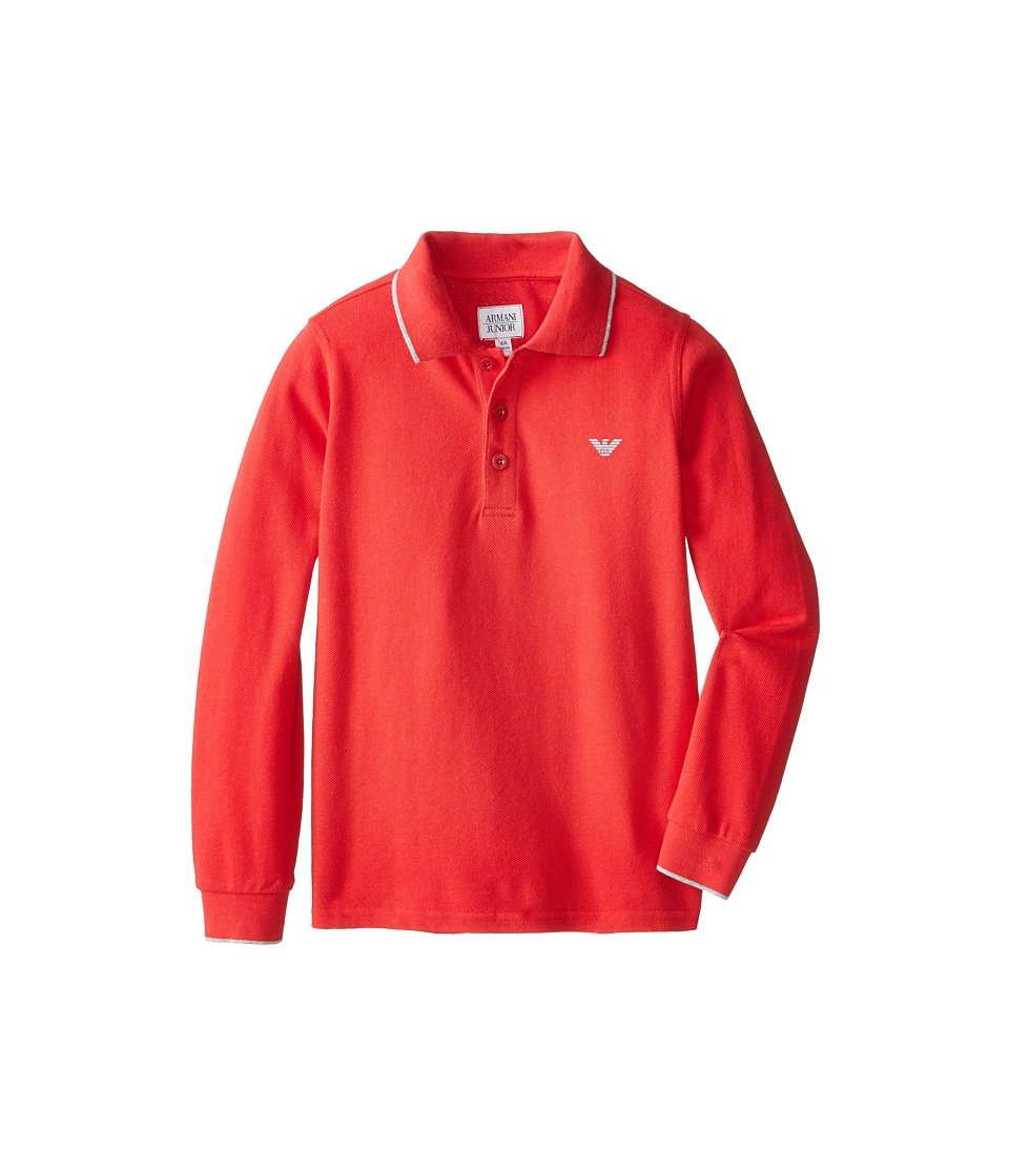 Armani Junior Basic Long Sleeve Polo w/ Under Collar Armani Toddler/Little Kids/Big Kids Red Boys Long Sleeve Pullover