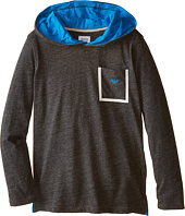 Armani Junior - Hooded Long Sleeve Melange Tee w/ Detail (Big Kids)