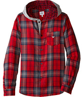 Armani Junior - All Over Plaid Hooded Button Down (Big Kids)