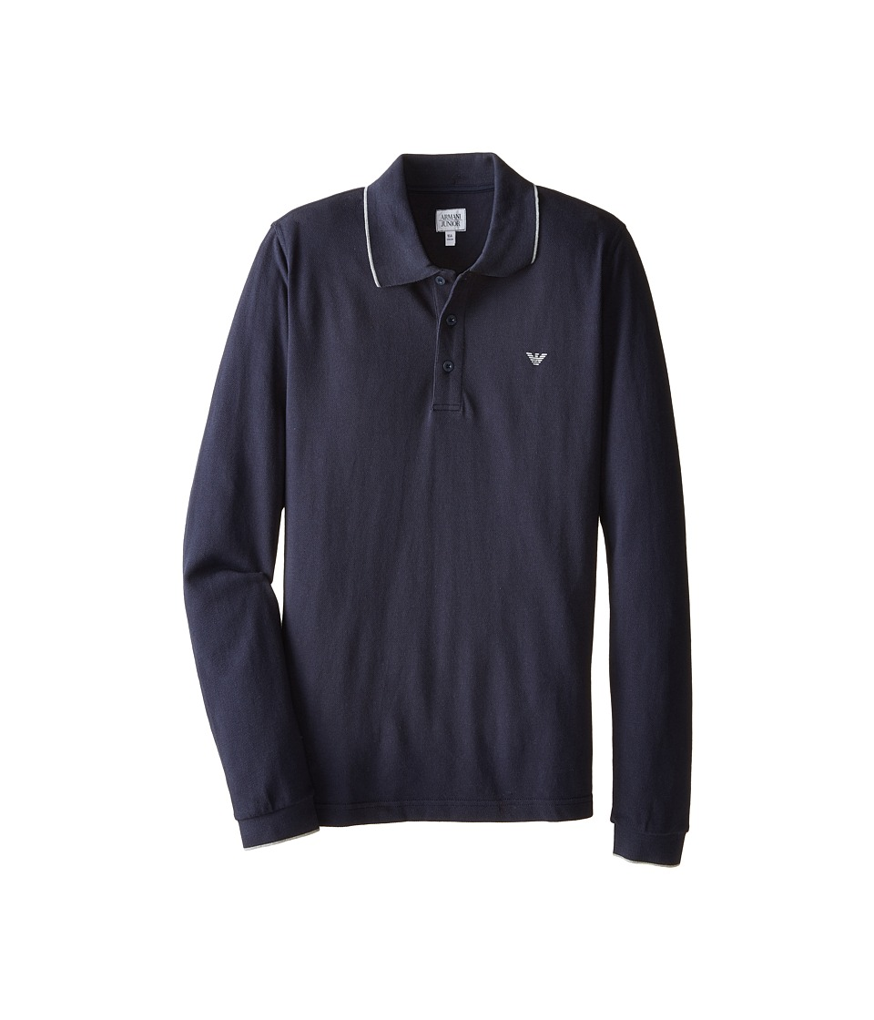 Armani Junior Basic Long Sleeve Polo w/ Under Collar Armani Big Kids Solid Dark Green Boys Long Sleeve Pullover