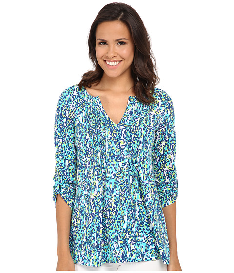 Lilly Pulitzer - Braylen Tab Sleeve Top (Sea Blue Its A Stretch) Women's Long Sleeve Pullover