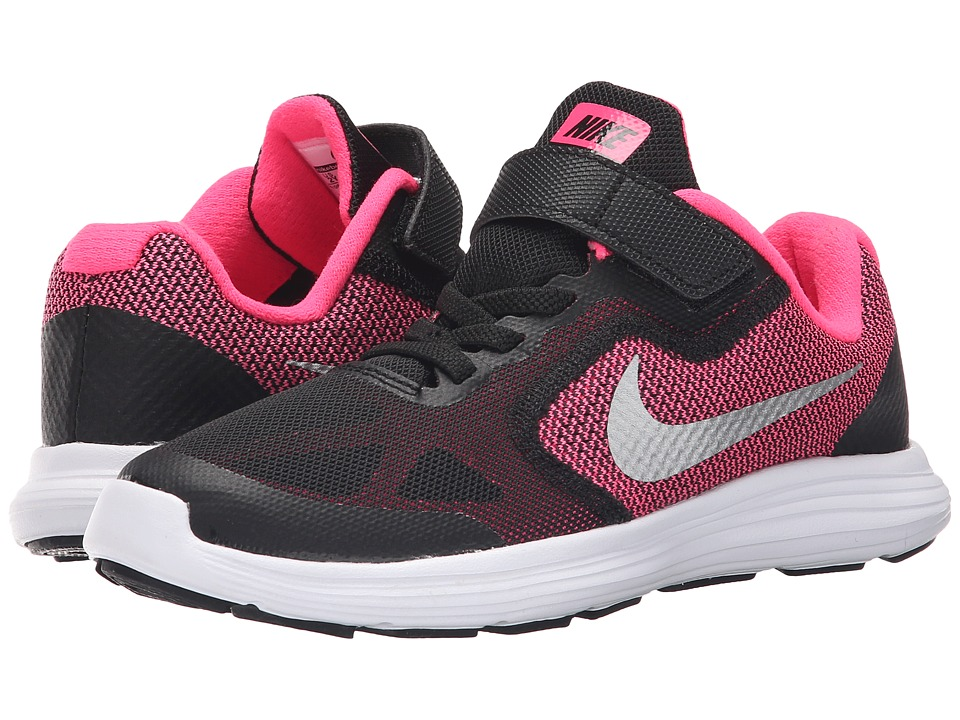 Nike Kids Revolution 3 (Little Kid) (Black/Hyper Pink/White/Metallic Silver) Girls Shoes