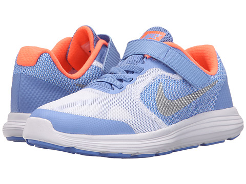 Nike Kids Revolution 3 (Little Kid) - Chalk Blue/Bright Mango/White/Metallic Silver