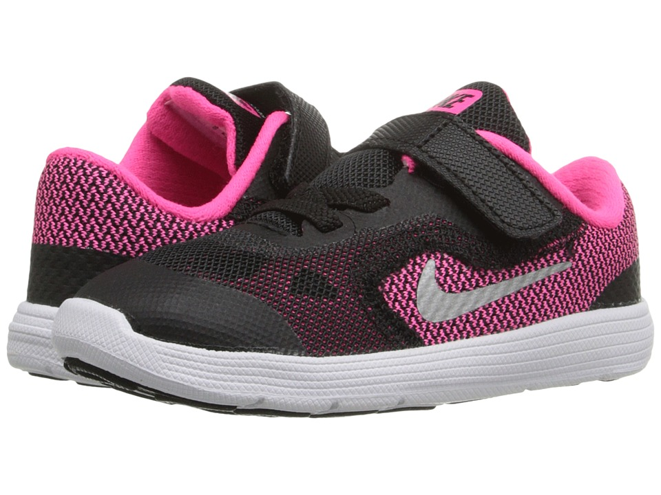 Nike Kids Revolution 3 (Infant/Toddler) (Black/Hyper Pink/White/Metallic Silver) Girls Shoes