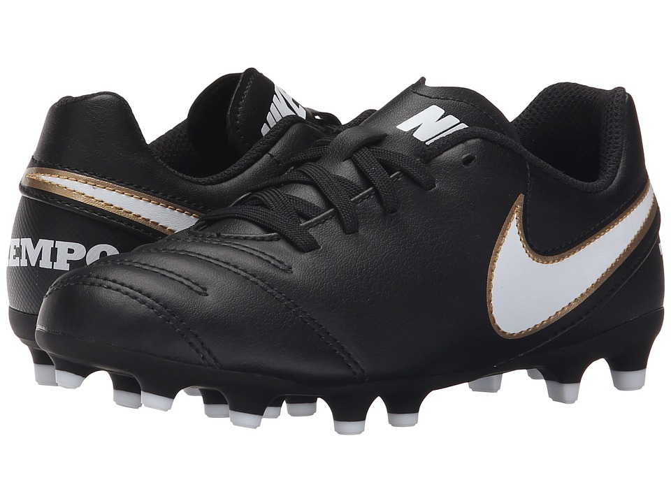 Nike Kids - Jr Tiempo Rio III FG-R Soccer (Little Kid/Big Kid) (Black/White) Kids Shoes
