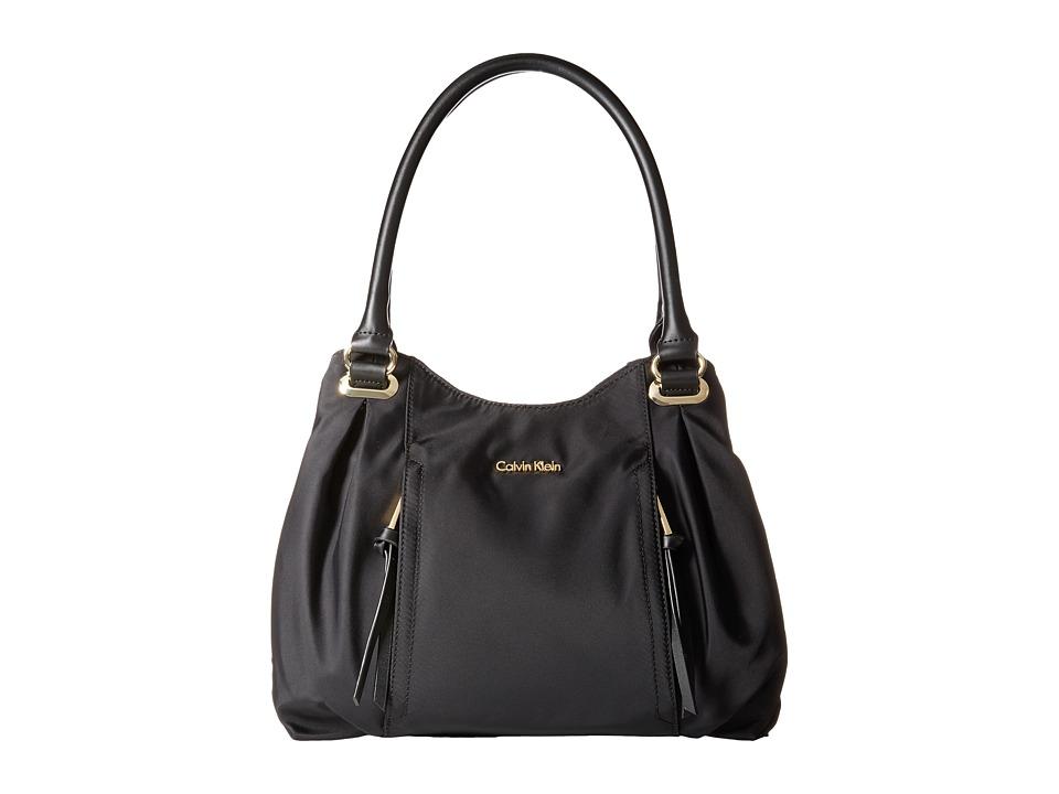 Calvin Klein - Dressy Nylon Shopper (Black/Gold) Tote Handbags
