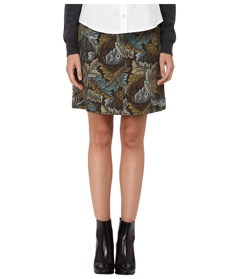 Marc by Marc Jacobs Acanthus Army Cotton A Line Skirt Elm Brown Multi Womens Skirt