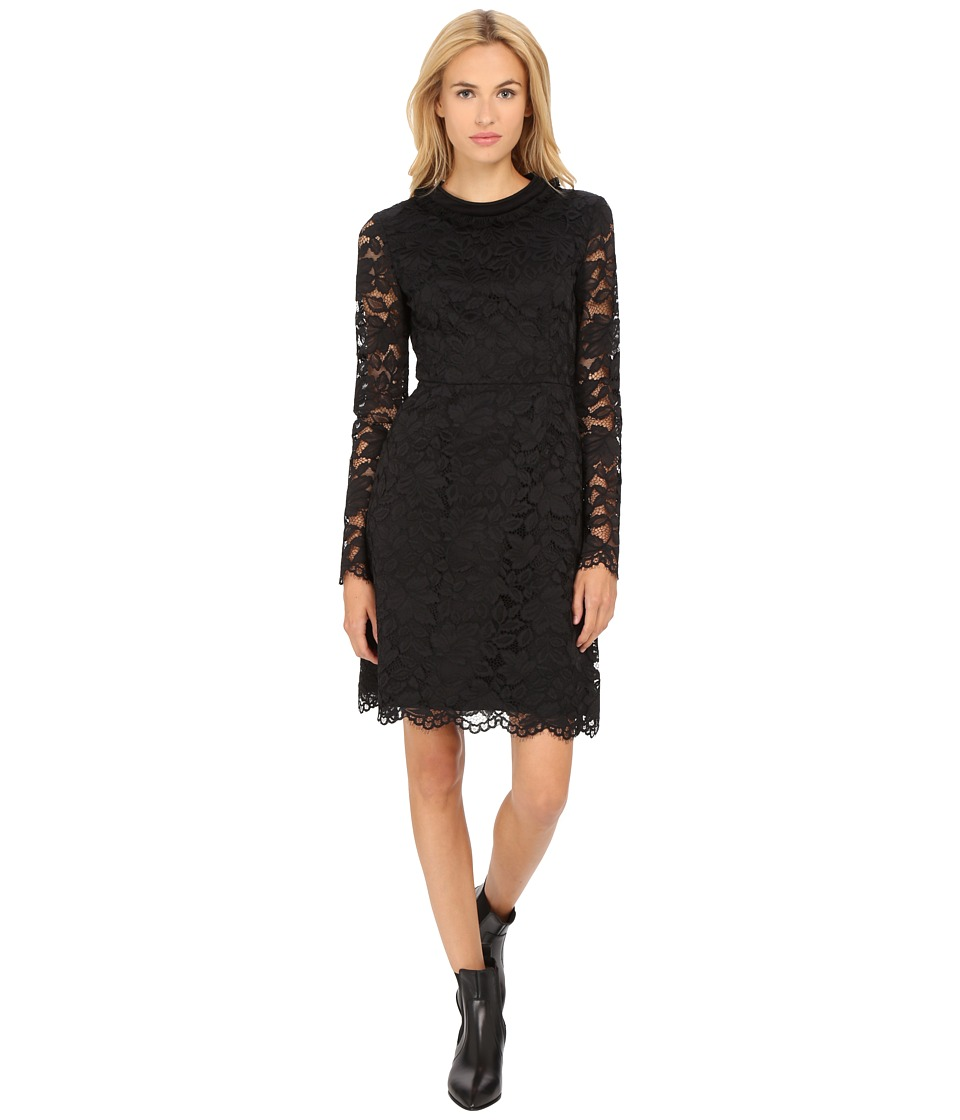 Marc by Marc Jacobs Isabella Lace Paneled Crew Dress Black Womens Dress