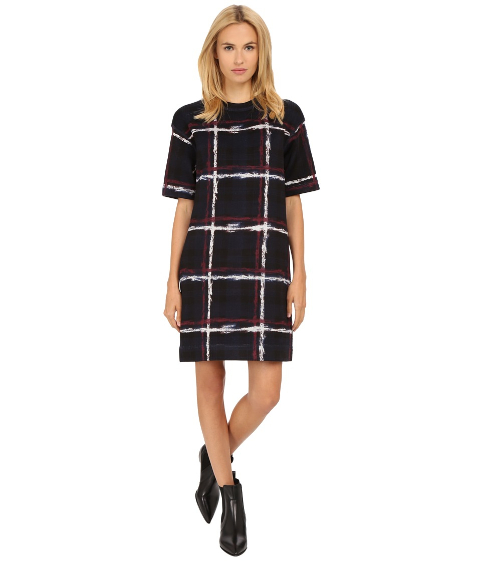 Marc by Marc Jacobs Chalky Tartan Print Short Sleeve Sweater Dress Gettysburg Blue Multi Womens Dress