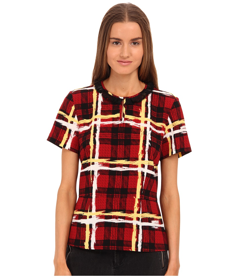 Marc by Marc Jacobs Chalky Tartan Crepe Short Sleeve Top with Peplum Ruby Red Multi Womens Clothing
