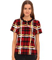 Marc by Marc Jacobs - Chalky Tartan Crepe Short Sleeve Top with Peplum