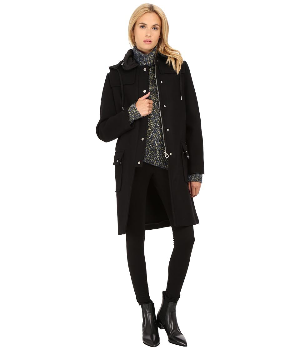 Marc by Marc Jacobs Norman Bonded Wool Techno Duffle Coat Black Womens Coat
