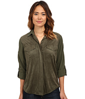 Sam Edelman - Lana Short Sleeve Top w/ Faux Suede