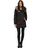 French Connection - Drape Front Puffer Coat w/ Fur Trim