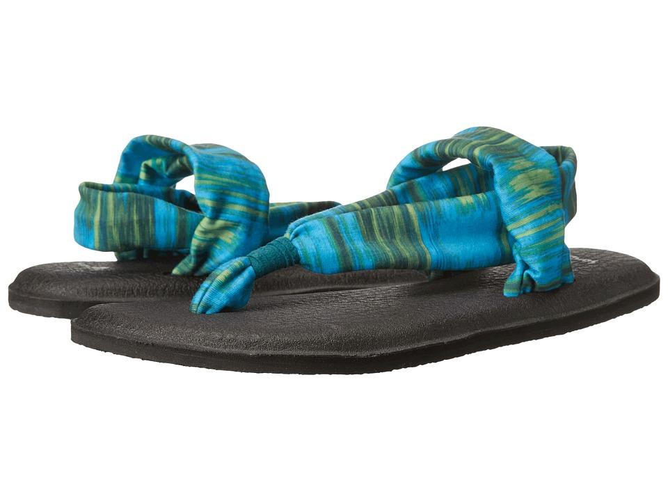 Sanuk Yoga Sling 2 Prints Blue Ikat Womens Sandals