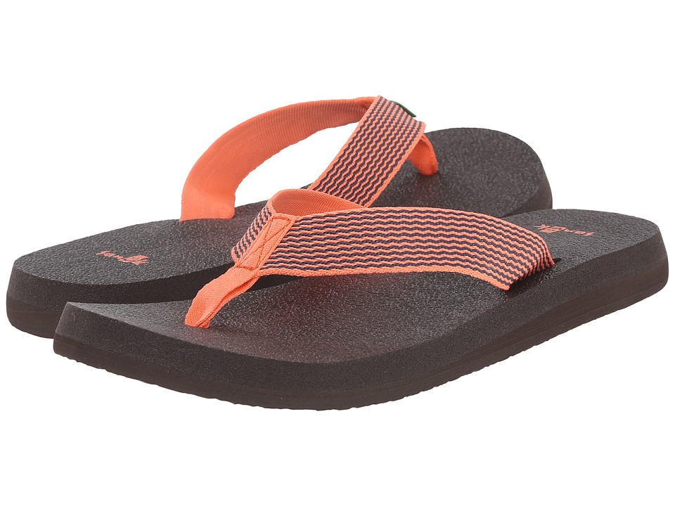 Sanuk Yoga Mat Webbing Hot Coral/Slate Blue Womens Sandals