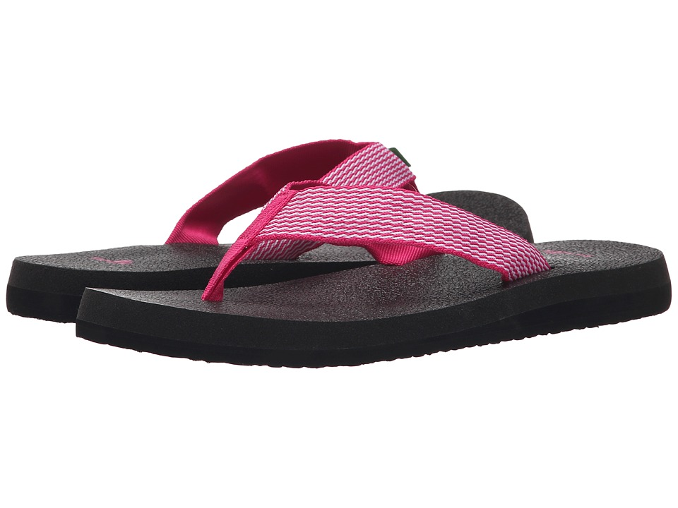 Sanuk Yoga Mat Webbing Fuchsia/White Womens Sandals
