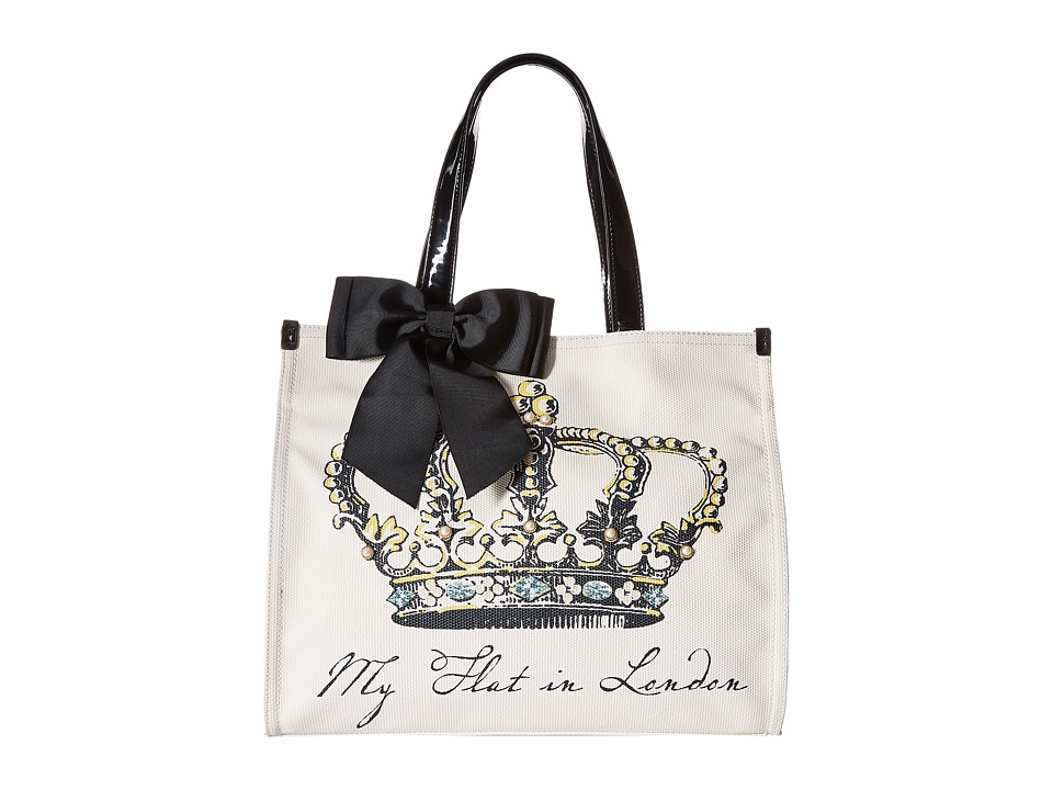 My Flat In London Grand Royale Square Tote Black/Natural Tote Handbags