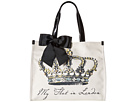My Flat In London Grand Royale Square Tote (Black/Natural)