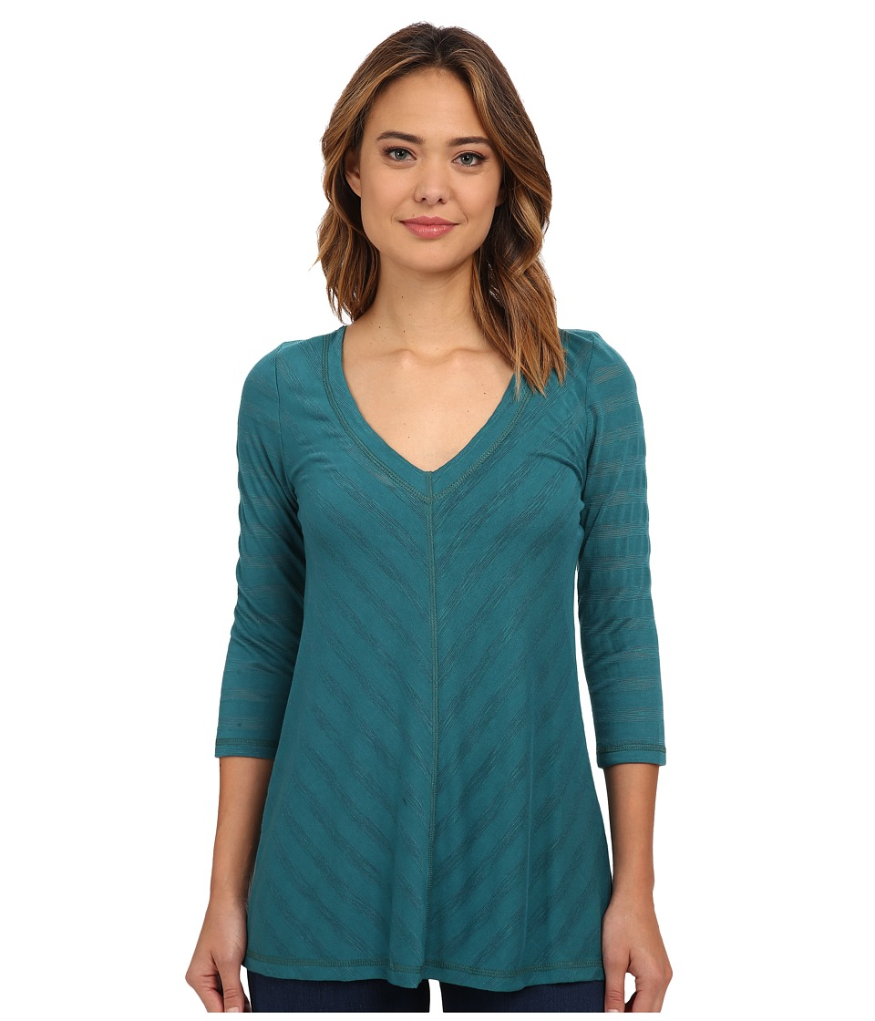 Miraclebody Jeans Mary Mitered Solid Top w/ Body Shaping Inner Shell Teal Green Womens Clothing