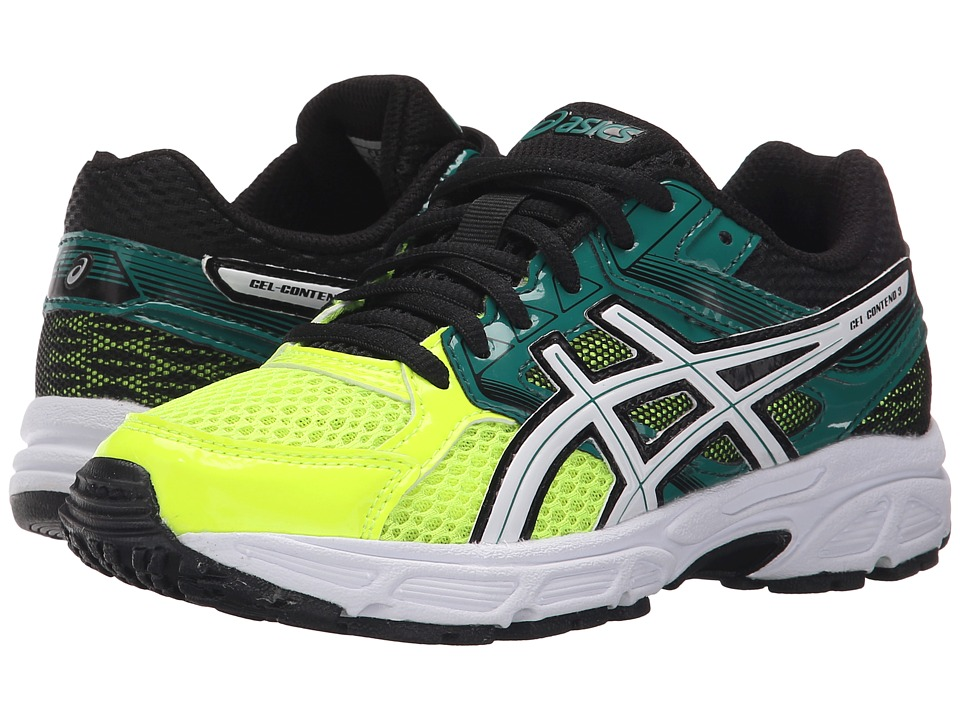 ASICS Kids Gel Contend 3 GS Little Kid/Big Kid Flash Yellow/White/Green Boys Shoes