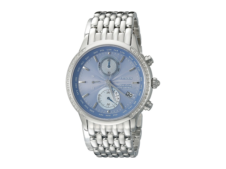 Citizen Watches - FC5000-51L World Chronograph A-T (Silver Tone Stainless Steel) Watches