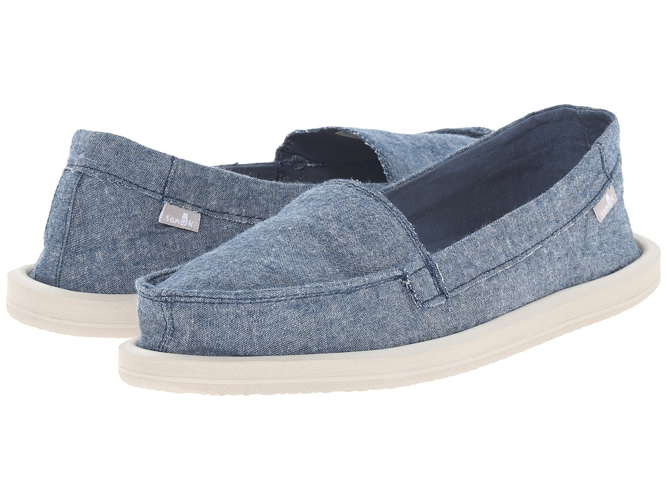 Sanuk Shorty TX Slate Blue Chambray Womens Flat Shoes