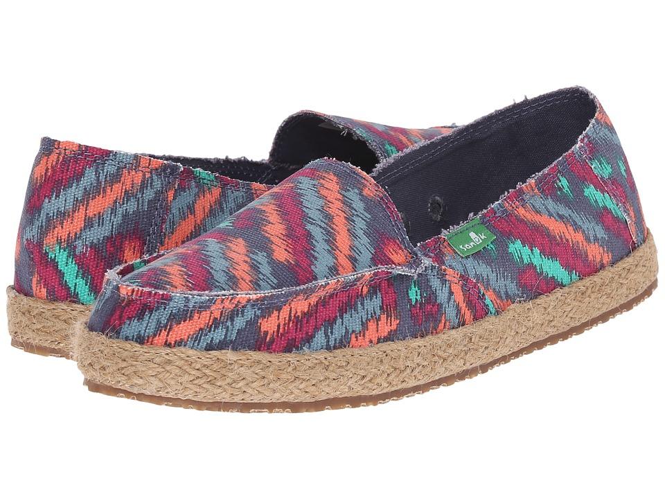 Sanuk Funky Fiona Slate Blue Zig Zag Womens Slip on Shoes