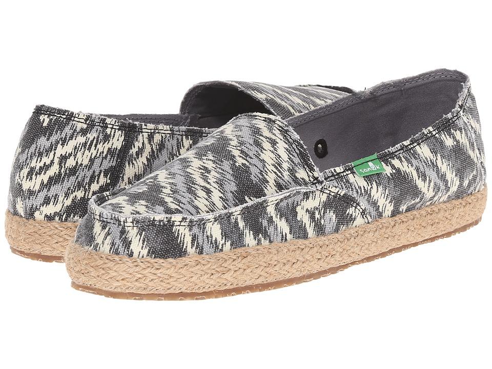 Sanuk Funky Fiona Black Zig Zag Womens Slip on Shoes