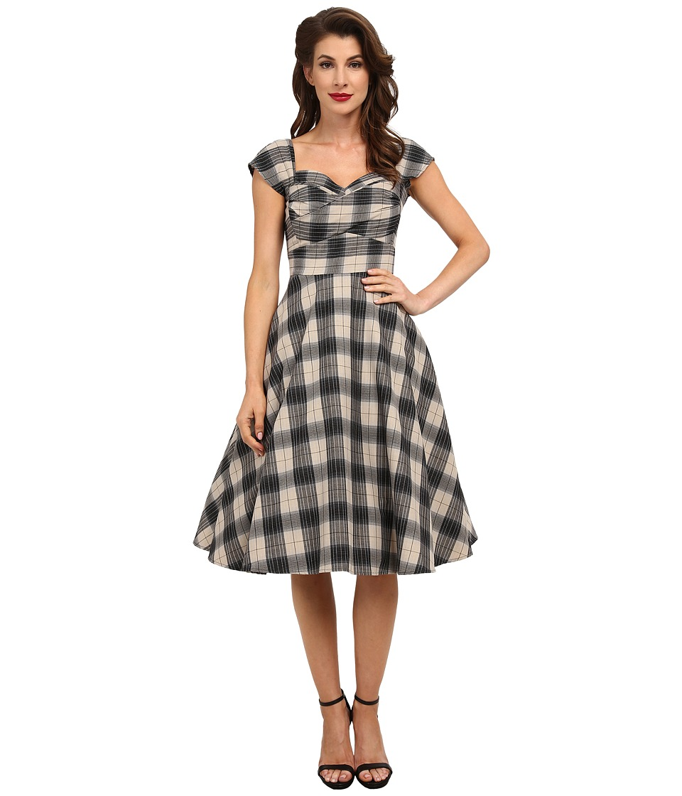 Stop Staring - Mad Style Swing Dress Black Plaid Womens Dress $218.00 AT vintagedancer.com
