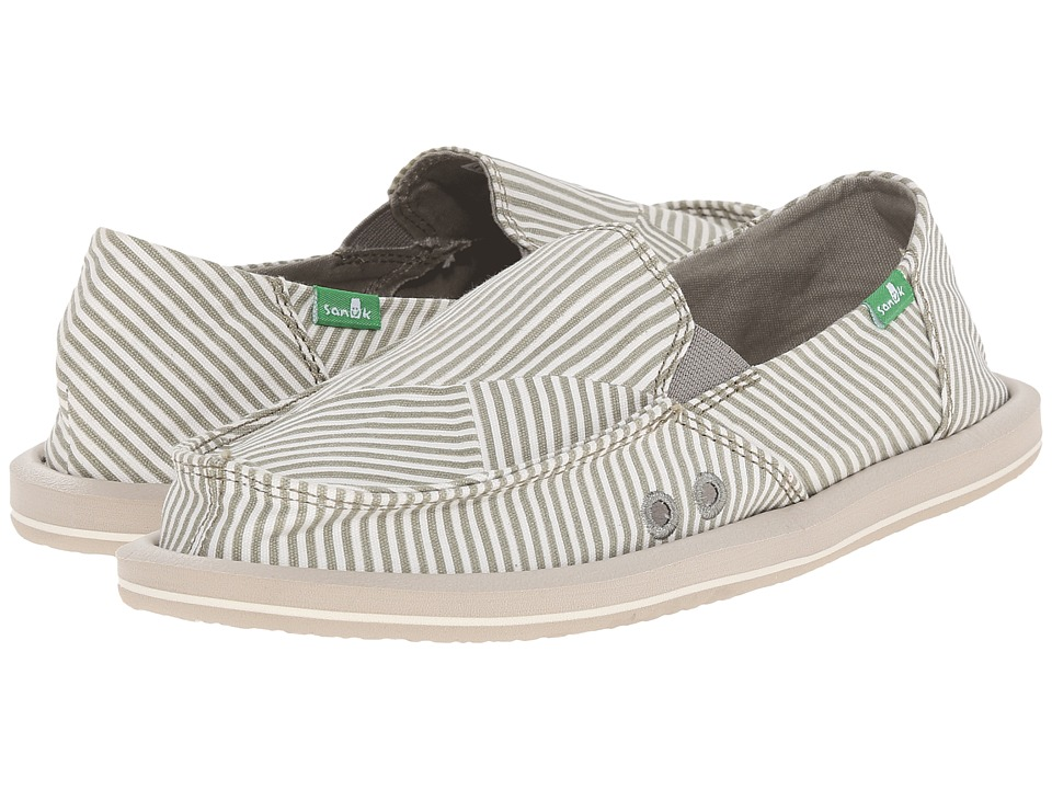 Sanuk Donna Polo (Olive Grey/White) Women