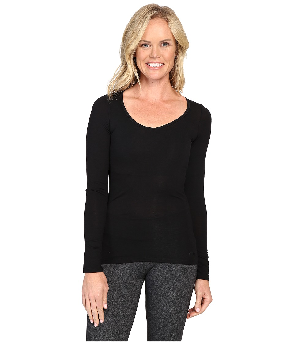 Icebreaker - Siren Merino Long Sleeve Sweetheart (Black) Womens Clothing