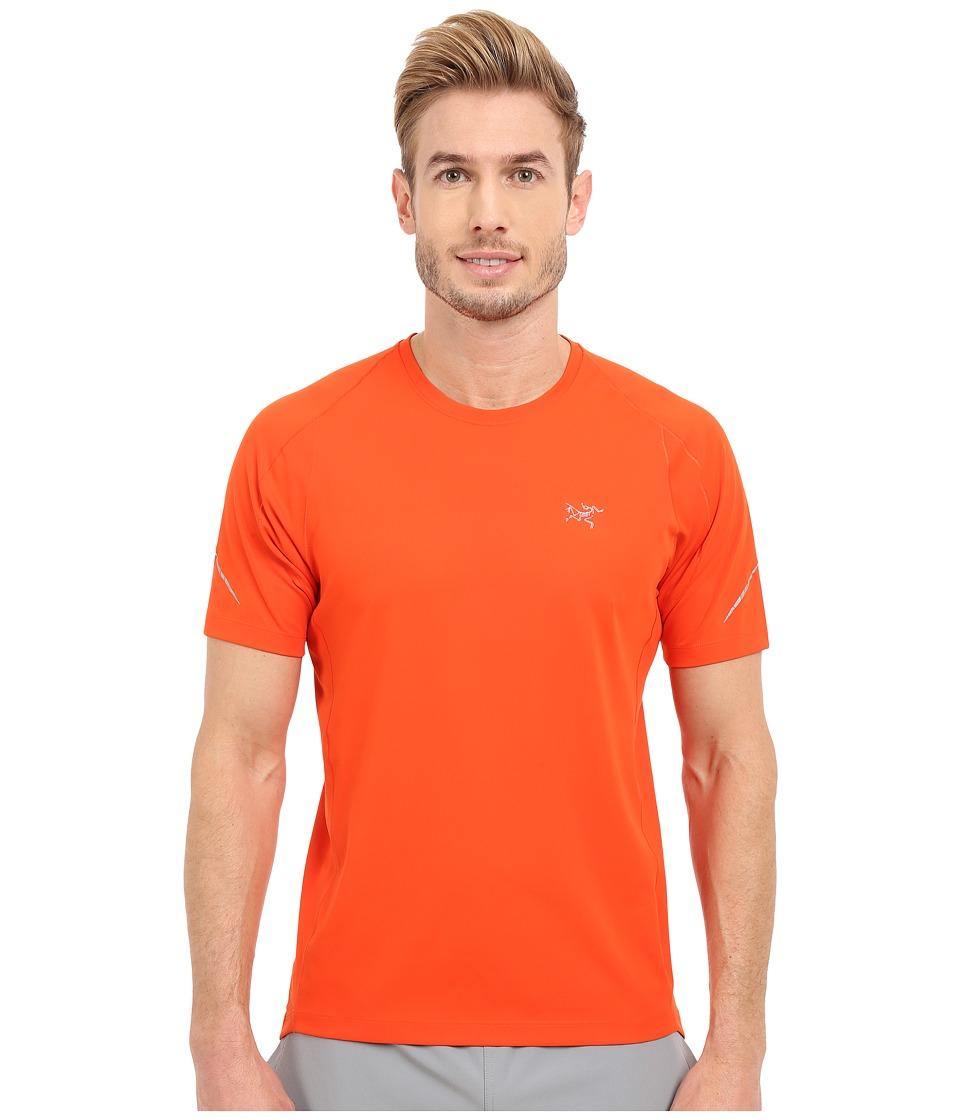 Arcteryx Accelerator Short Sleeve Blood Orange Mens Clothing