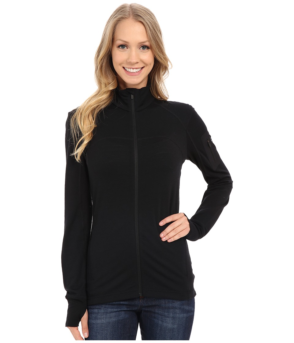 Icebreaker Terra Long Sleeve Zip (Black/Black/Black) Women