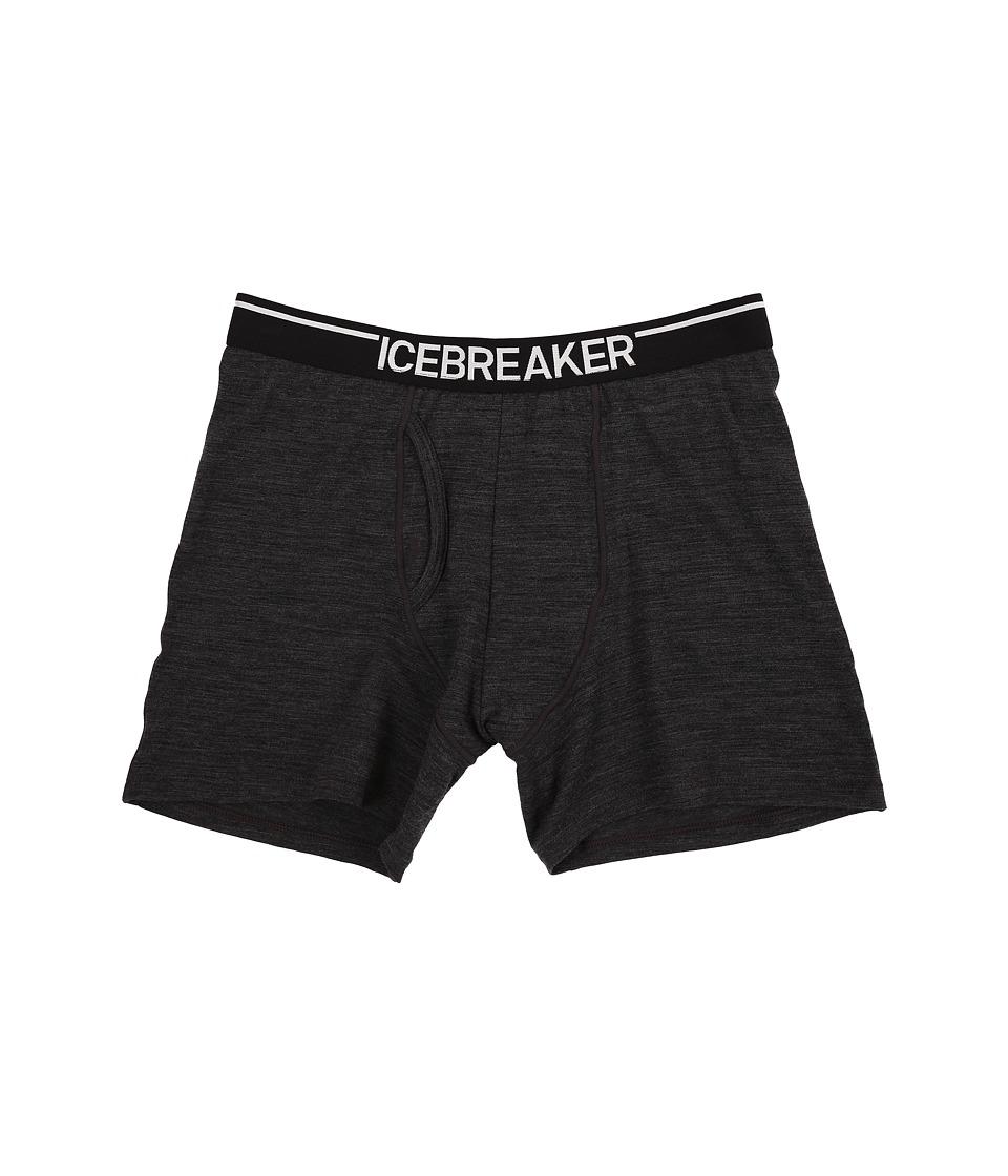 Icebreaker Anatomica Boxers w/ Fly Jet Heather/Black Mens Underwear