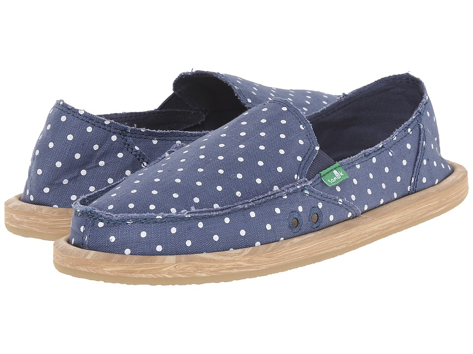 Sanuk - Hot Dotty (Slate Blue/White Dots) Women
