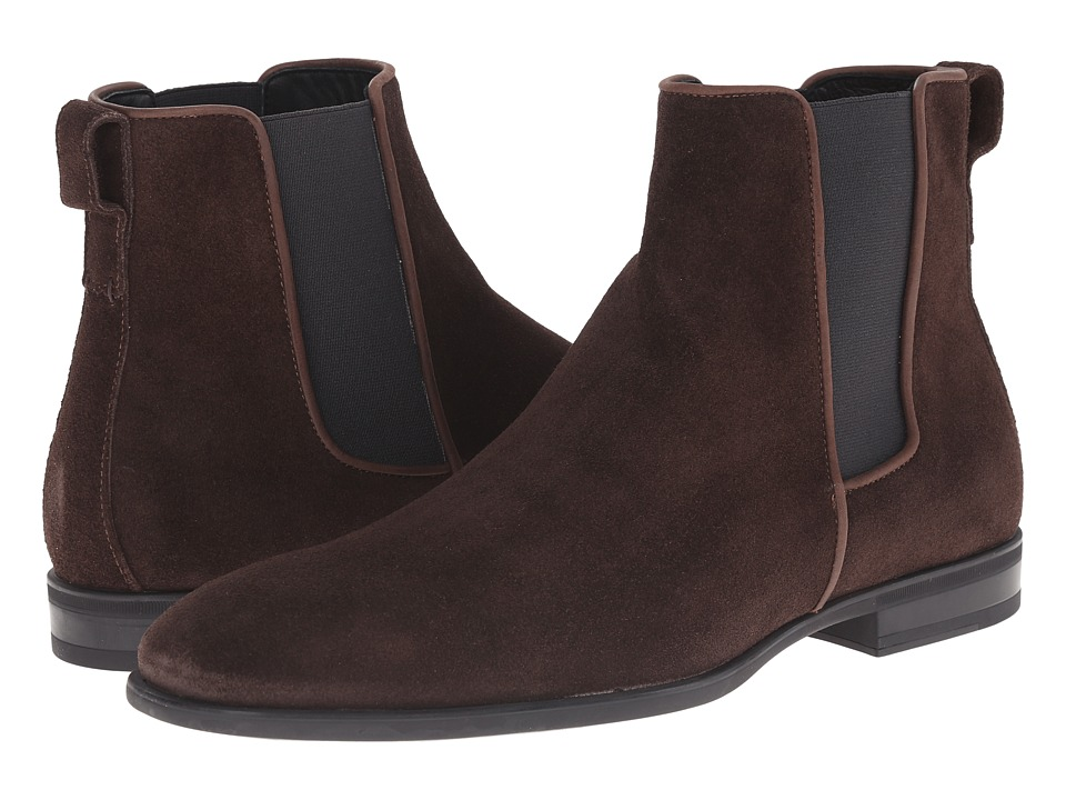 Aquatalia Adrian Dark Brown Dress Suede Mens Pull on Boots