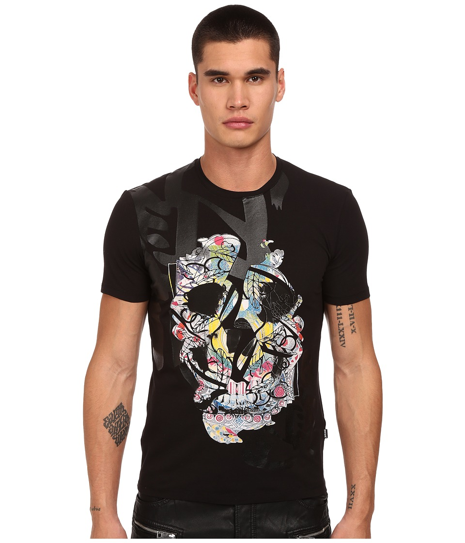 Just Cavalli Graffiti Skull Print Black Mens T Shirt