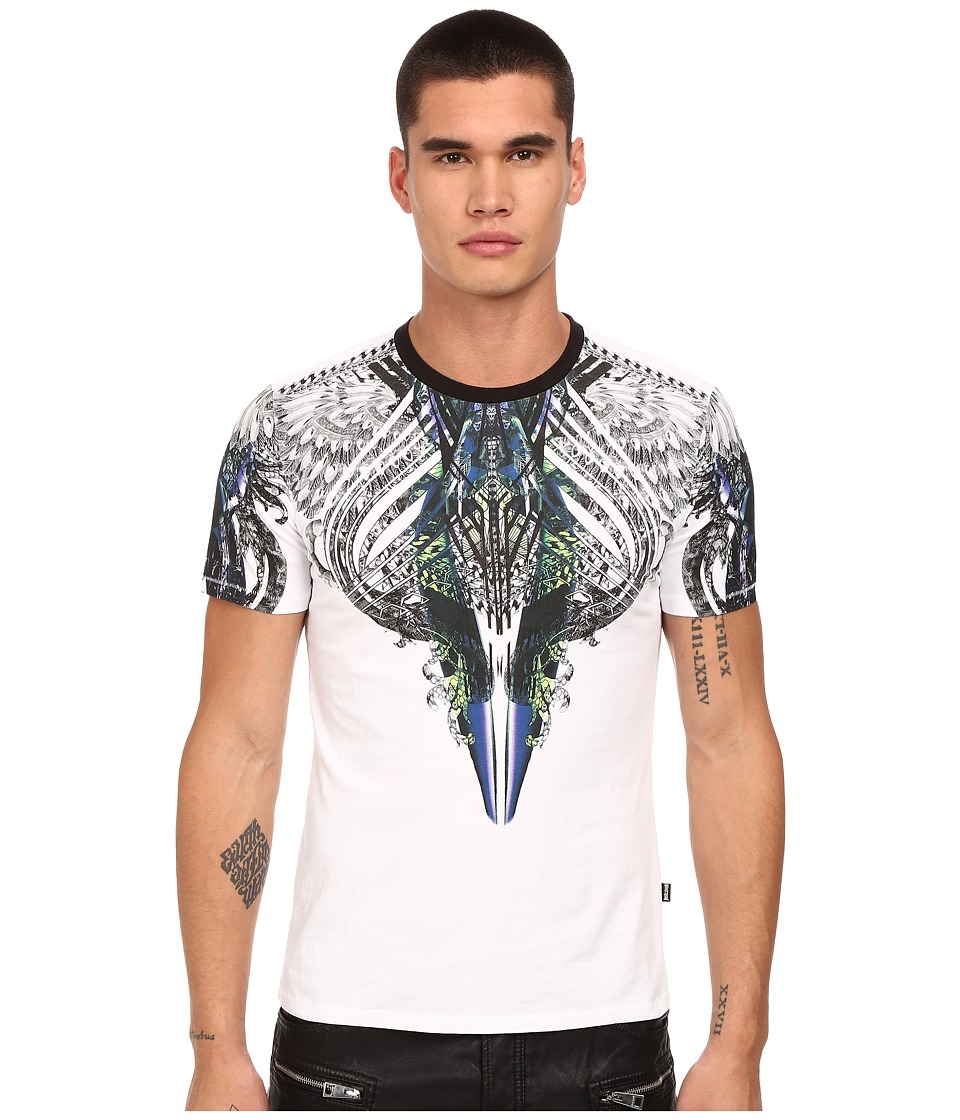 Just Cavalli Modern Deco Crew Tee White Mens T Shirt